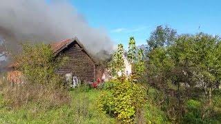 Pożar budynku w Zagonach w gminie Lubomino