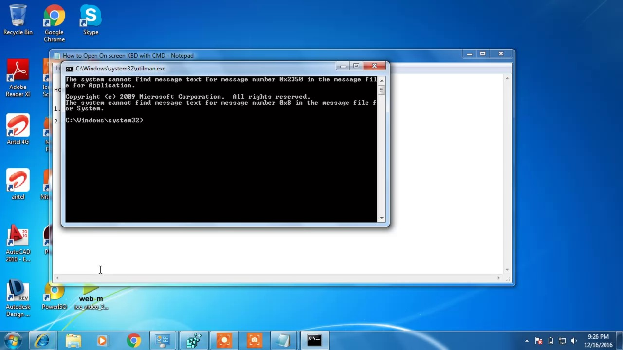 windows 7 login screen open cmd