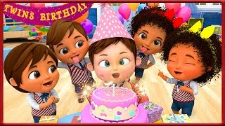 Twin Happy Birthday Song  Kids Party Songs in First Day of School - Banana Cartoon [HD]