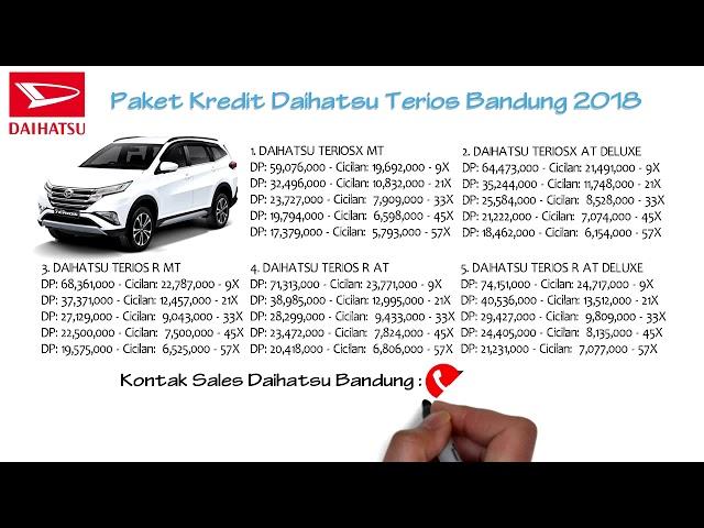 Kredit Daihatsu Terios Bandung DP dan Cicilan Oktober 2018 | 082127725181