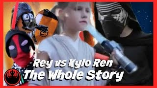 The Whole Story: Star Wars Rey vs Kylo Ren, kid deadpool in real life superhero battle SuperHeroKids