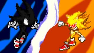 Dark Sonic Vs Fleetway Super Sonic (short sprite animation)