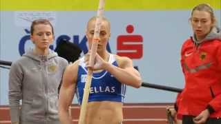 Kyriakopoulou - Stefanidi Pole Vault 4.60 European Indoor Championships Prague 2015 Qualifying
