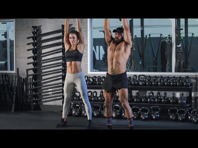 Primal Swoledier  and Jena Mays does a savage Tri N Bi Kettlebell Workout