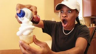 SHAVING CREAM FROSTING CUP CAKE PRANK!!!!