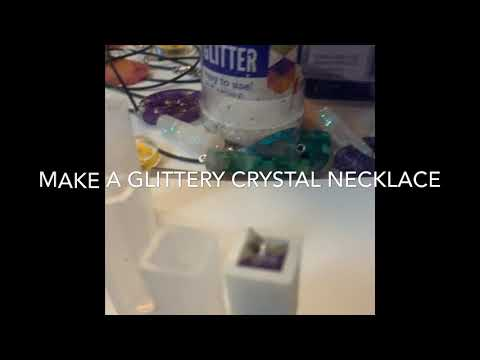 Resin and Glitter Crystal Necklace - DIY - Resin for beginners - Jewelry making tutorial