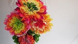 Сделать цветок из креповой бумаги(Это очень легкий способ как сделать красивый цветок из креповой или гофрированной бумаги своими руками...., 2014-08-09T10:21:06.000Z)