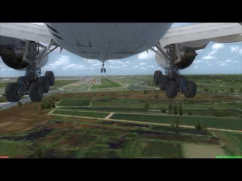 Landing at Bangkok Boeing 777-200 [Gear CAM] ++ FSX