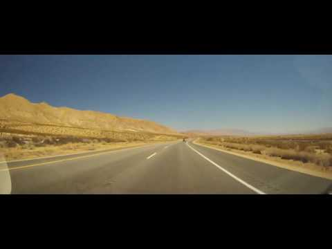 Driving in the Antelope Valley of the Mojave Desert in California US 395