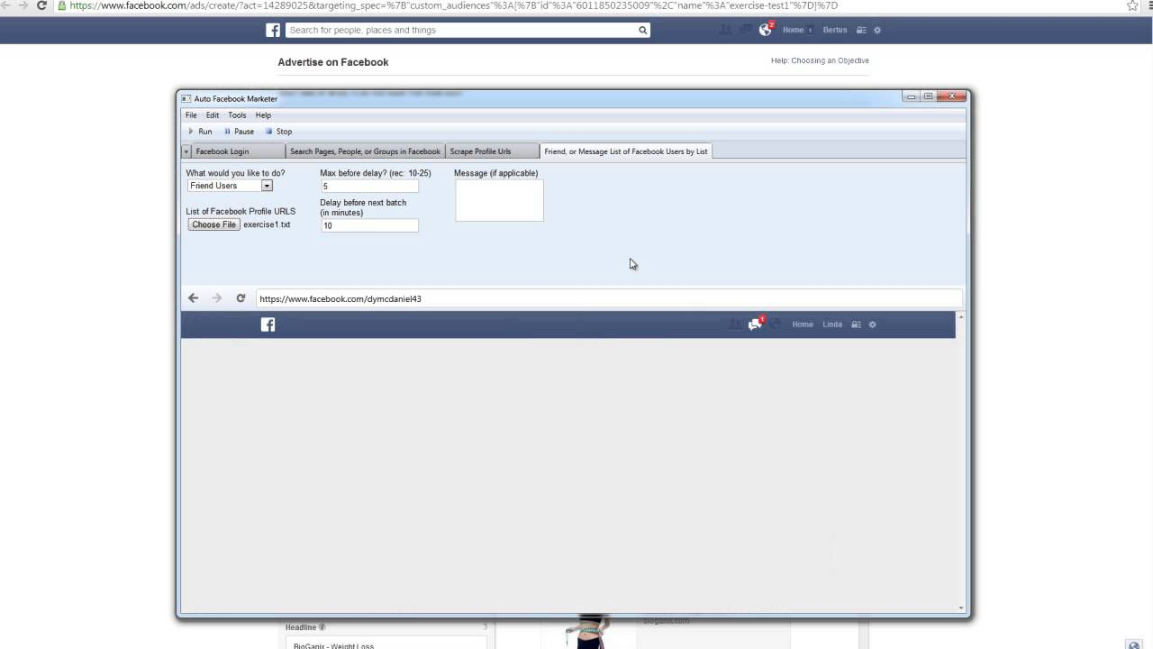 Auto Facebook Marketer Tutorial3 friend or message list of users