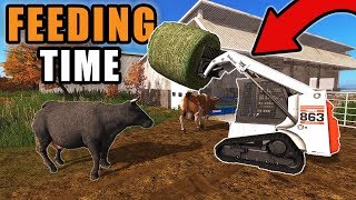 MOVE COWS GET OUT OF THE WAY! ITS FEEDING TIME | BOBCAT 863 W/ TRACKS | FARMING SIMULATOR 2017