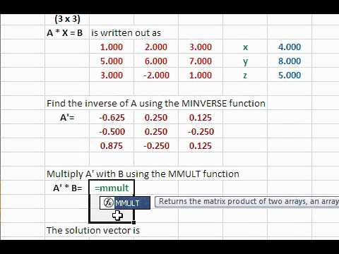 Solve System Of Linear Equations Using Excel Matrix Functions Youtube
