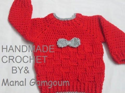 e39644b10 كروشيه بلوفر لأي مقاس بغرزة الباسكيت # HandMade Crochet - YouTube