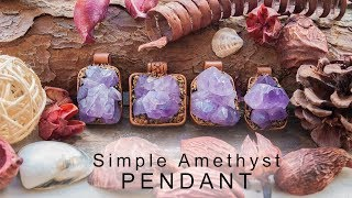 Simple raw Amethyst crystal Pendant using Polymer clay   Making Process
