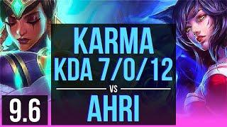 karma vs ahri mid kda 7012 godlike korea master v96