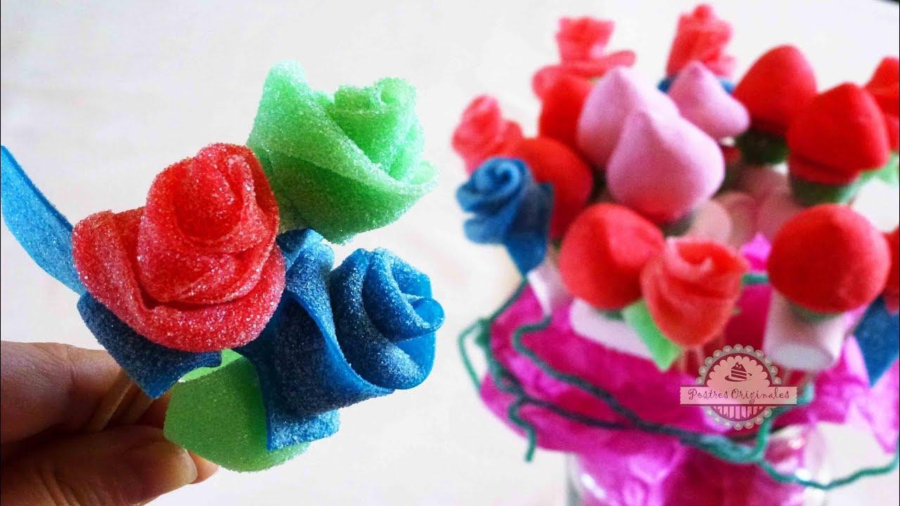 Ramo de chuches c mo se hace un ramo de rosas de - Como hacer un carrito de chuches paso a paso ...