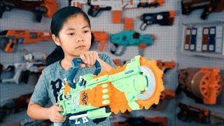 Nerf Zombie Strike BrainSaw Blaster Unboxing Toy Review and Test Shoot