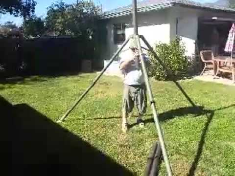 Erecting 20 Foot Tripod Antenna Tower In 90 Seconds With