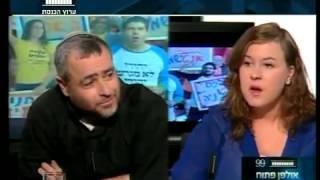ימין מול שמאל. שמעון ריקלין מול ניצן כהן כהנא פעילת שלום עכשיו.