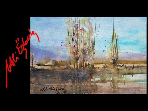 How to paint Landscape Watercolor painting demo by Me and Orhan Gürel (short version)