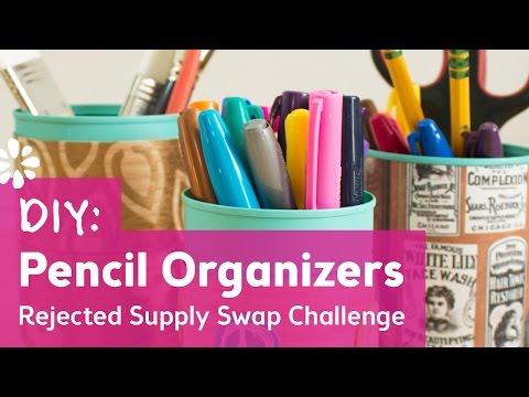 DIY Pencil Organizers | Rejected Supply Swap Challenge with Karen Kavett | Sea Lemon