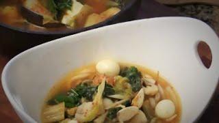 Kimchi Tofu Udon Noodles Soup- Quail Eggs