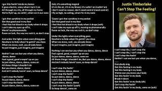 Justin Timberlake - Can t Stop the Feeling (karaoke lower key 3)
