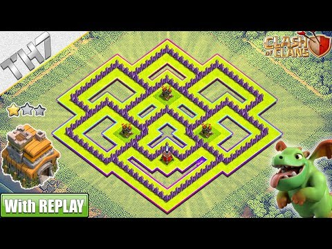 New Best TH7 TROPHY/FARMING Base 2018 with REPLAY - Clash of Clans