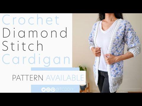 Crochet Diamond Stitch Cardigan With Pockets | Pattern & Tutorial DIY