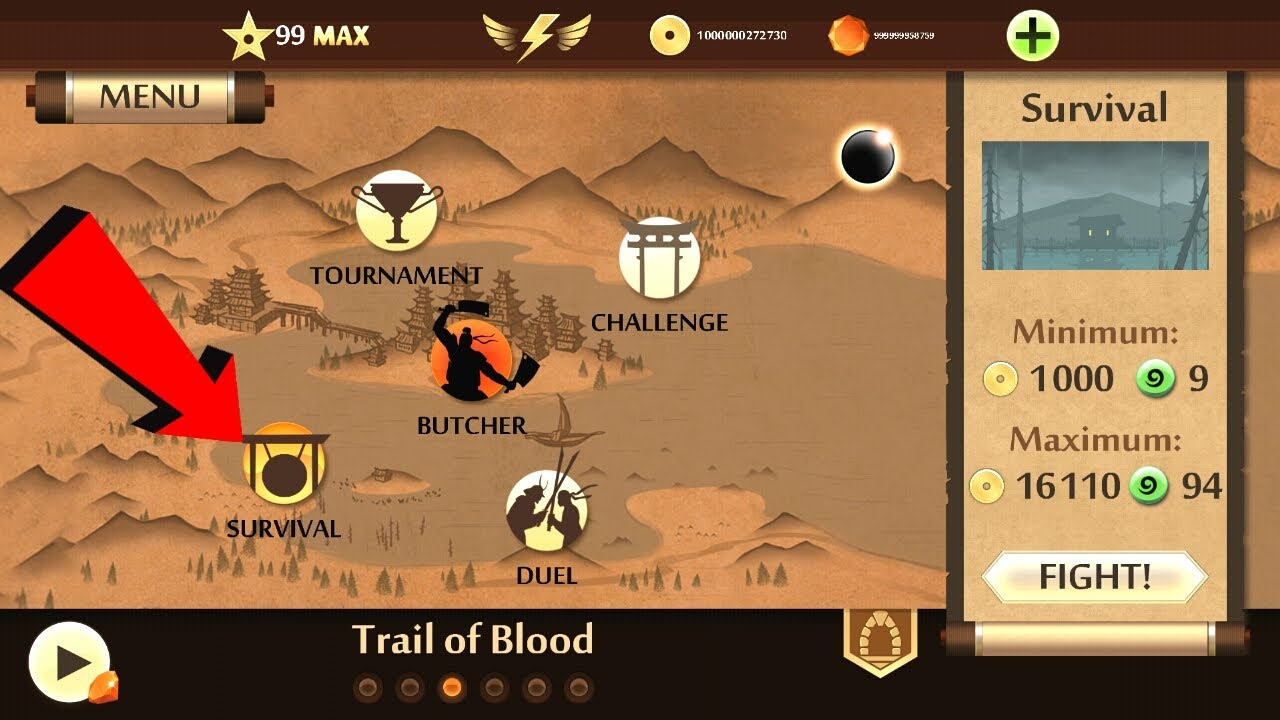 Shadow Fight 2 Act 3 Survival Mod Walkthrough ( Trail of