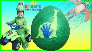 GIANT EGG SURPRISE OPENING The Good Dinosaur movie Disney Toys World Biggest Surprise Egg Kids Video