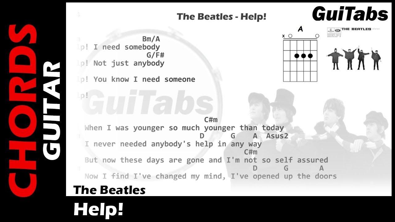 HELP 😱   The Beatles  Lyrics   GUITAR Chords 🎸  Karaoke