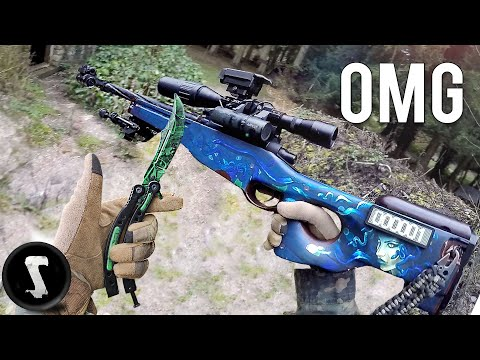 Using $1300 REAL CSGO Weapons In Airsoft War!!