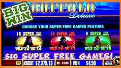 BIG WIN | $10 BET | SUPER FREE GAMES BUFFALO DELUXE SLOT MACHINE