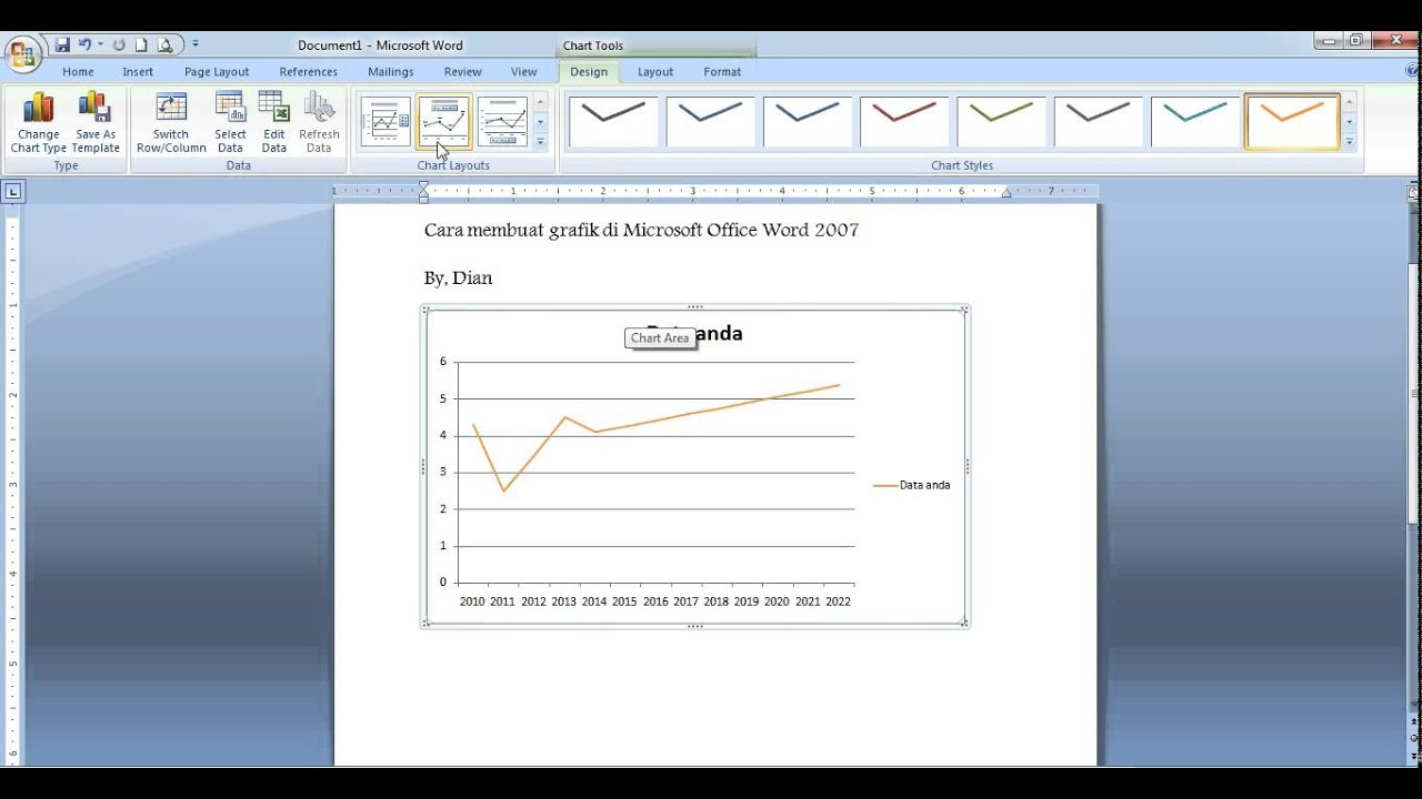 Cara Membuat Grafik Di Microsoft Office Word 2007 Youtube