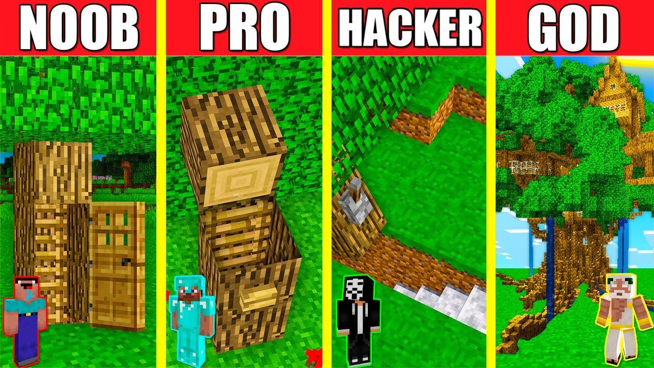 Minecraft Battle: INSIDE OAK TREE HOUSE BUILD CHALLENGE - NOOB vs PRO vs HACKER vs GOD / Animation