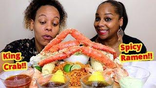 King Crab Seafood Boil and Ramen Mukbang먹방  | Eating show