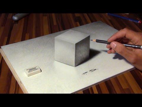 Zeichnen eines Würfels in 3D!  Illusion / optische Täuschung!