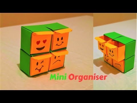 how to make an origami organizer-mini organizer-emoji paper organizer