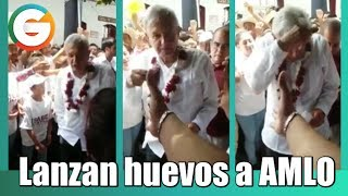 Lanzan huevos a AMLO tras mitin en Huatusco, Veracruz
