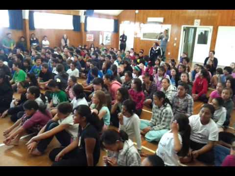 Trent Boult entertains kids at a school in Rotorua