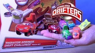 Micro Drifters Cars Snot Rod, Wingo, Mario Andretti Radiator Springs Drift Challenge Track Playset