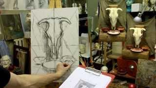 Натюрморт: рисунок углем на холсте - Обучение живописи. Масло. Введение, 11 серия