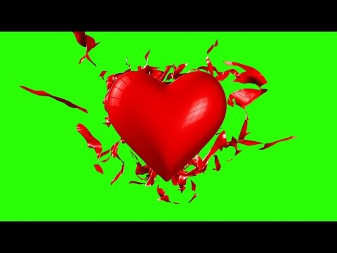 Green Screen Heart Love Disintegration Destruction - Footage PixelBoom
