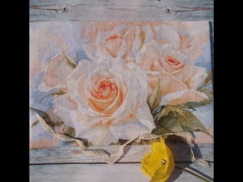 Вышивка белые розы алиса