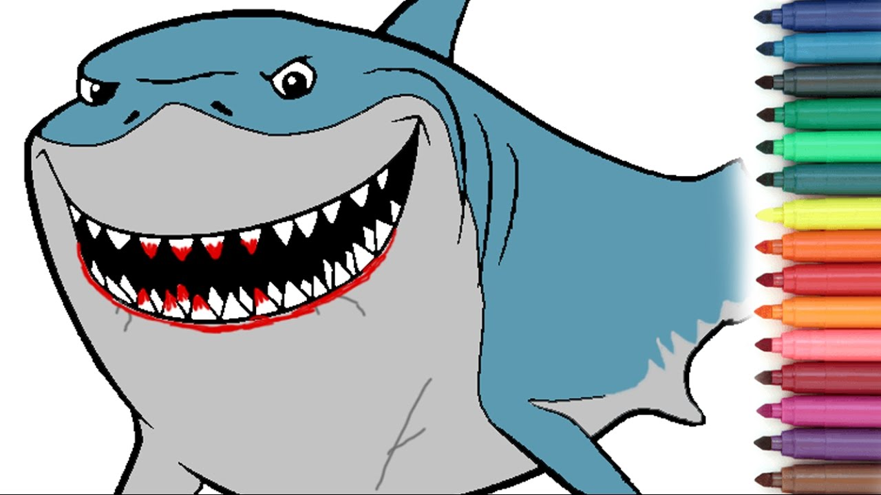 finding nemo shark bruce coloring page for kids youtube