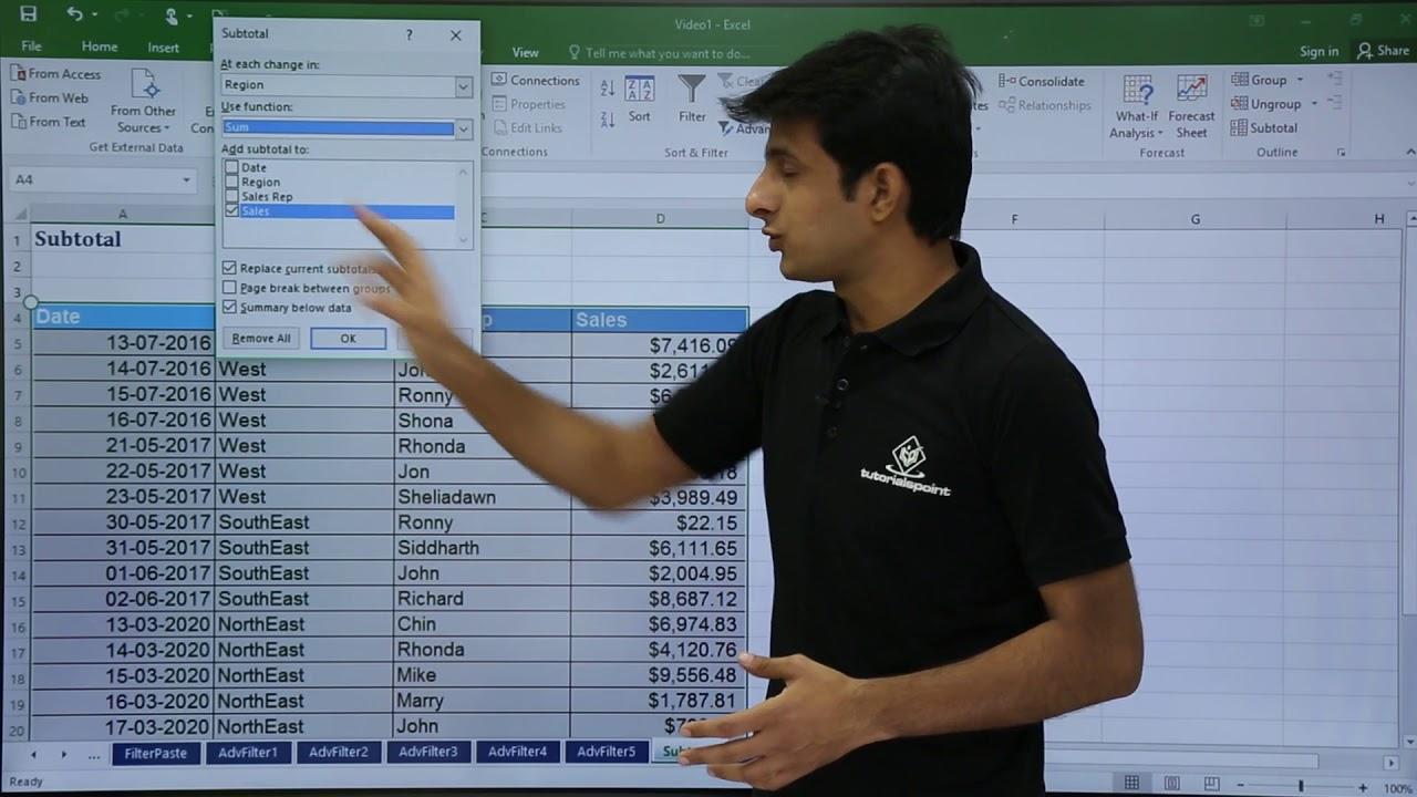 Download MS Excel - Subtotal