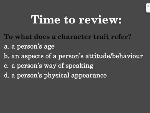 Character Traits Lesson