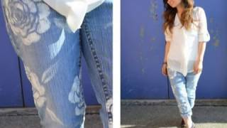 DIY Floral Jeans Tutorial Stencils Fabric paint