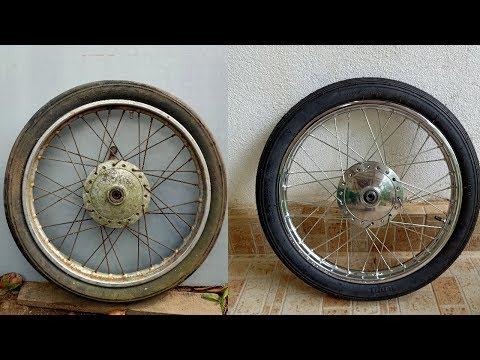 Motorbike Front Wheel Hub Restoration And Polishing |  How To Spoke A Motorbike Wheel